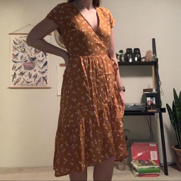 Old Navy burnt orange/mustard floral wrap dress